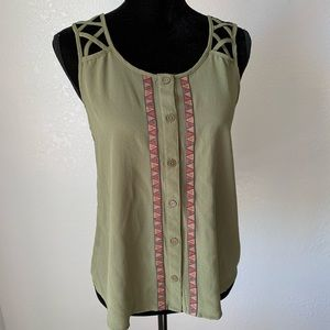 EUC  MINE Green Boho X Sleeve Tank Top